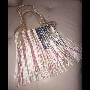 Steve Madden Large Patriotic Fringed Crossbody Bag